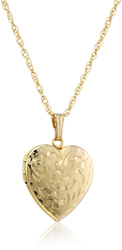 14k Yellow Gold-Filled Engraved Flowers Heart Locket, - 14k Flower Necklace Gold