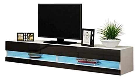 Amazon Com 70 Inch Tv Stand White Black Mdf Wall Mounted With 16