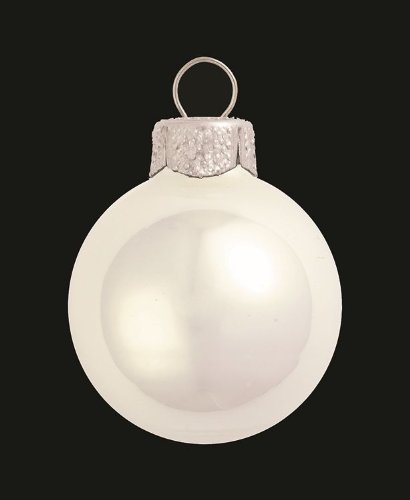 8ct Pearl Polar White Glass Ball Christmas Ornaments 3.25