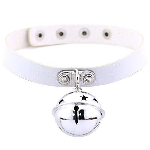 Mybox 2019 New Women Girls Harness Harajuku Anime Necklaces Bells Pendant Goth Choker Collar Necklace Neck Chocker Jewelry-White