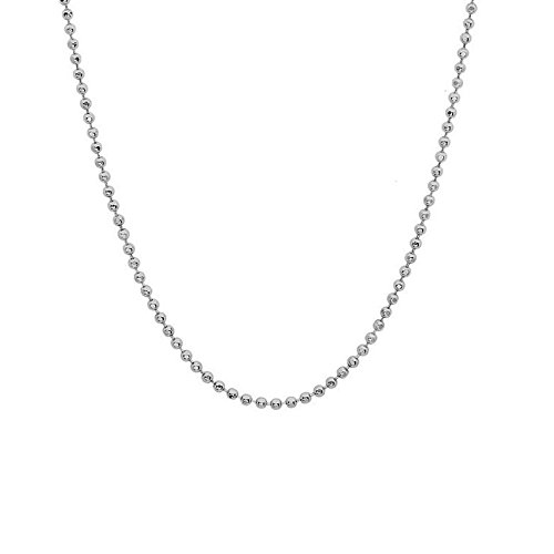 JewelStop 14k Solid White Gold 1 mm Diamond-cut Bead Chain Necklace, Lobster Claw - 20
