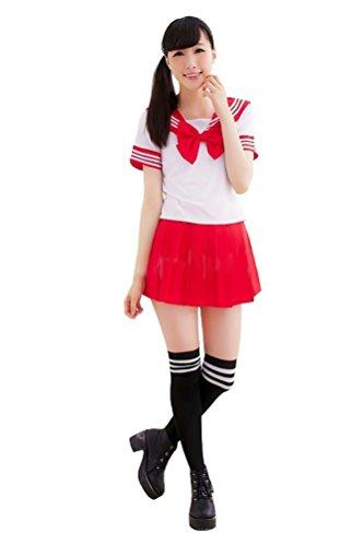 [Memorose Womens Cosplay Costume Anime Girl Lolita Japan School Uniform Dress Red] (School Girl Costumes Cheap)