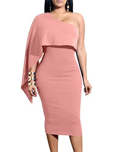 GOBLES Women's Summer Sexy One Shoulder Ruffle Bodycon Midi Cocktail Dress Pink