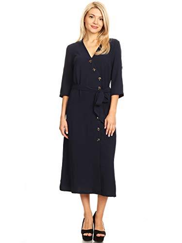 Anna-Kaci Women's Button Closure Split Front Midi Wrap Belt Tie 3/4 Sleeve Dress,Navy,Large