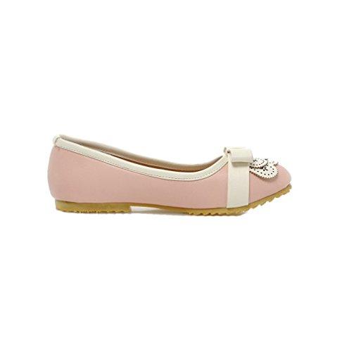 Rosa AllhqFashion Puro Chiusa Flats Punta Luccichio Donna FBUIDC005707 Ballet Senza Tirare Tacco ZqWnwP1gZ