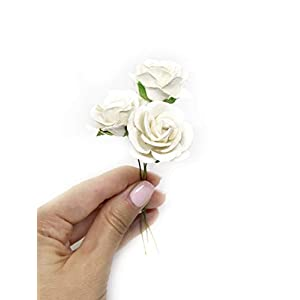"""1.5"""" White Paper Flowers Paper Rose Artificial Flowers Fake Flowers Artificial Roses Paper Craft Flowers Paper Rose Flower Mulberry Paper Flowers, 12 Pieces 3"""
