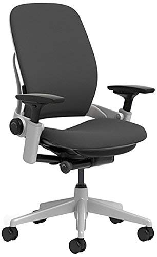 Steelcase Leap Chair with Platinum Base & Hard Floor Caster, Black (Renewed) by Steelcase