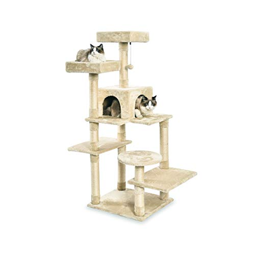 AmazonBasics Medium Cat Condo Tree Furniture Tower – 22 x 58 x 19 Inches, Beige