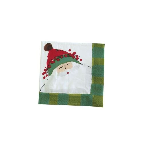 Vietri Old St. Nick Christmas Cocktail Napkin with Green Checkered Frame - Pack of 20