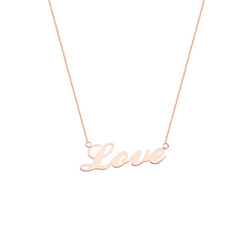 East 2 West Cursive Word Love Necklace Rose Gold on Sterling Silver