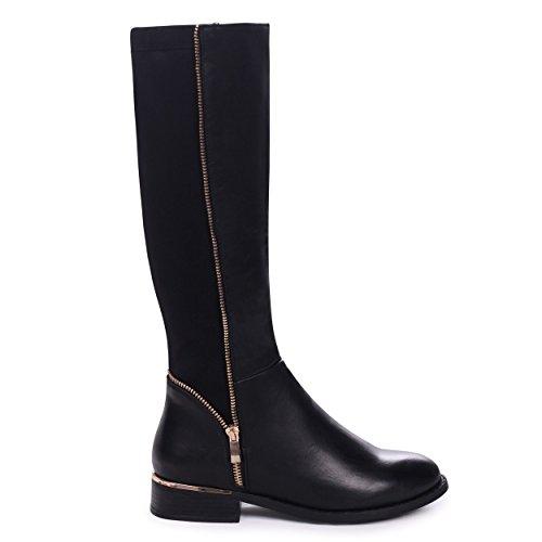 Natasha - Black Nappa Long Boot with Gold Zip & Heel Detailing and Lycra Back Panel Black Nappa KAQ8XVXNC