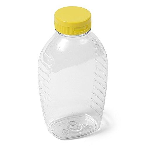 (225) Clear Oval PET Honey Jar - 1 lb - Yellow Flip Cap - Case of -