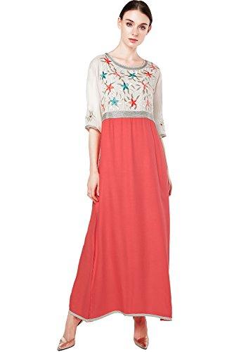 Muslim Dress Dubai Kaftan For Women Half Sleeve Arabic Long Dress Abaya Islamic Clothing Girls Caftan JALABIYA, Light Red, Large