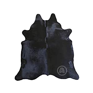 Black Cowhide Rug Dyed Approx. Size 6ft x 8ft 180cm x 240cm