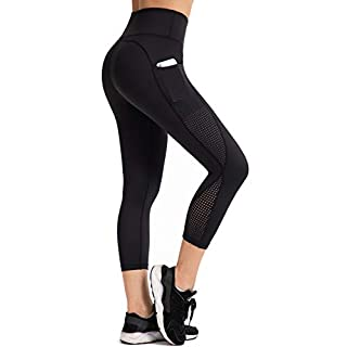 UURUN Women's Capri Workout Leggings with Pockets High Waisted Tummy Control Yoga Pants Non See Through Mesh Compression Running Capris for Fitness Gym Athletic 883 Black XL