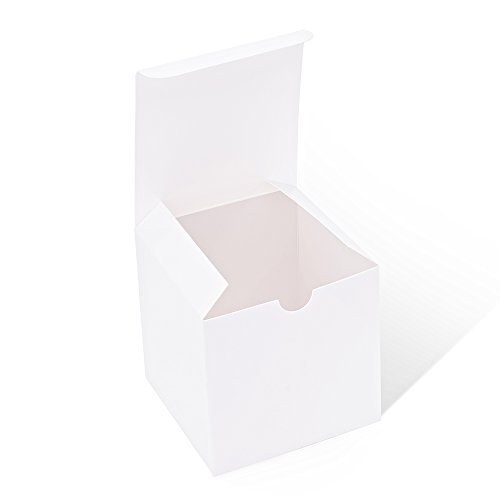 MESHA Kraft 4x4x4 White Boxes, Paper Gift Boxes with Lids for Gifts, Crafting, Cupcake Boxes (White Paper Gift Boxes, 4 x 4 x 4 Inches) (50)