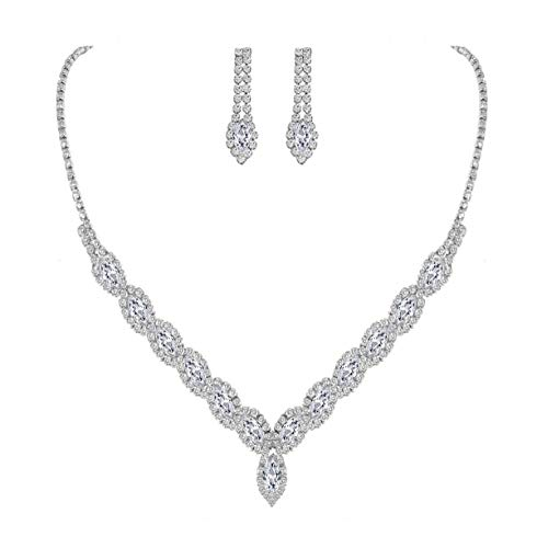 YSOUL Sparkling CZ Rhinestone Bridal Bridesmaid Jewelry Set Necklace Earrings for Wedding Evening Party Prom (White Gold)