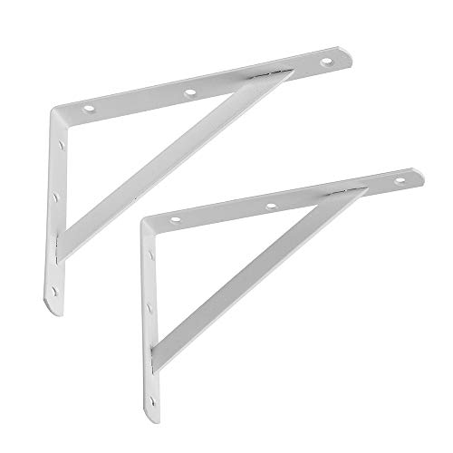 (Dewell 2 Pcs Tripod Triangle Shelf Brackets, Wall Mounted Shelf Supports White,WT250)