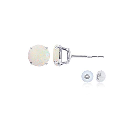 Genuine 10K Solid White Gold 4mm Round Natural Opal October Birthstone Stud Earrings ()