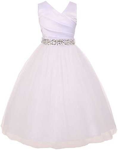 Big Girls' White Rhinetones Belt Communion Flowers Girls Dresses White 10 (M2B7K6RH)