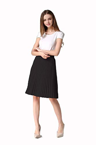 Evening Star Women's Chiffon Pleated Swing Skirt A-Line Spring High Waist Half Knee Skirt (XL, Black)