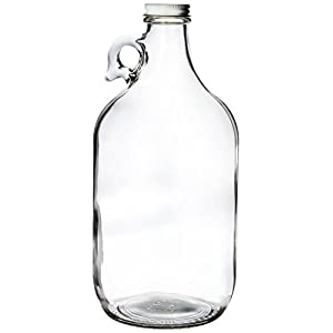Growler, clear glass half-gallon (64oz) with lid