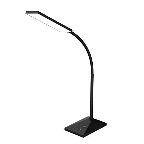 RAOYI LED Desk Lamp Eye-Caring Table Lamps, Dimmable Office Lamp with USB Charging Port, Touch Control Sensitive, 5 Color Modes, Black, ()