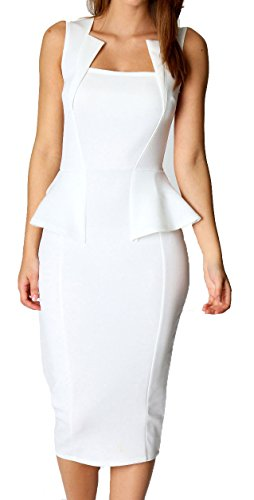 Made2envy Bodycon Midi Peplum Dress with Square Neckline (L, White) C6150-1L