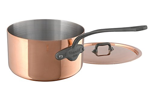 Mauviel M'Heritage M150C 6450.17 Copper Saucepan with Lid. 1.7L/1.9 quart 16cm/6.3'' with Cast Stainless Steel Iron Eletroplated  Handle by Mauviel