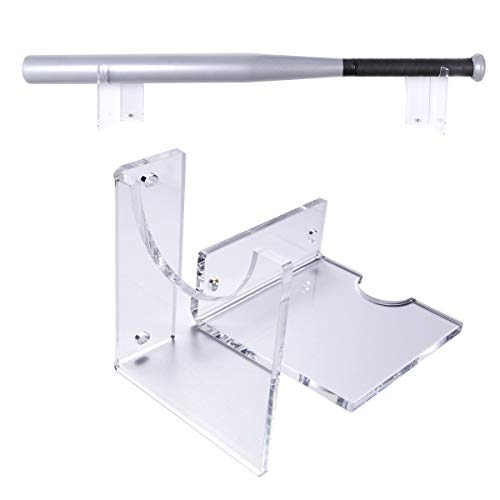 NIUBEE Bat Rack Wall Mount Baseball Bat Holder Display Bats or Balls,Heavy Duty Acrylic Horizontal L-Shape Type