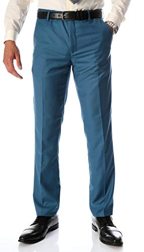 (Ferrecci Men's Halo Slim Fit Flat-Front Dress Pants (Teal,)