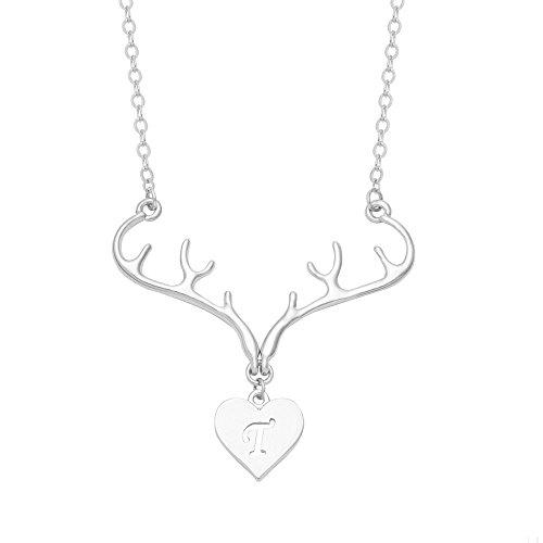 SENFAI Silver Rhodium Plated Deer Antler Initial Alphabet Letter Heart Pendant Necklace 18