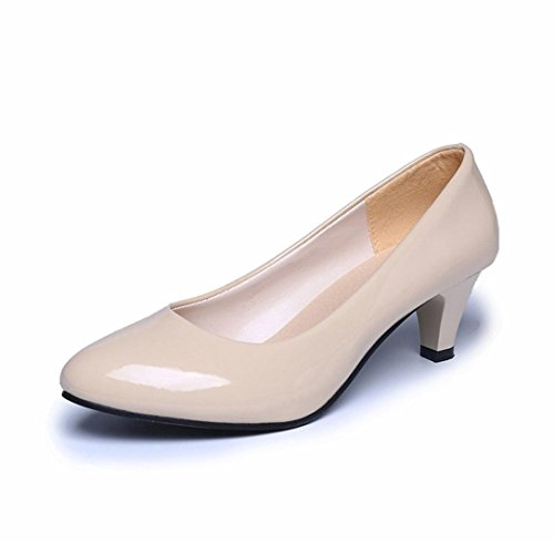 Flat Shoes,Clearance! AgrinTol Women Nude Shallow Mouth Office Work Heels Elegant Shoes (35, Beige) ()