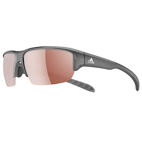 adidas Kumacross Halfrim A421 6050 Rectangular Sunglasses, Grey Transparent, 64 ()