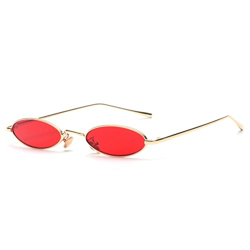 Vintage Oval Sunglasses Small Metal Frame Fashion Candy Colors Women Sun Glasses (Red)