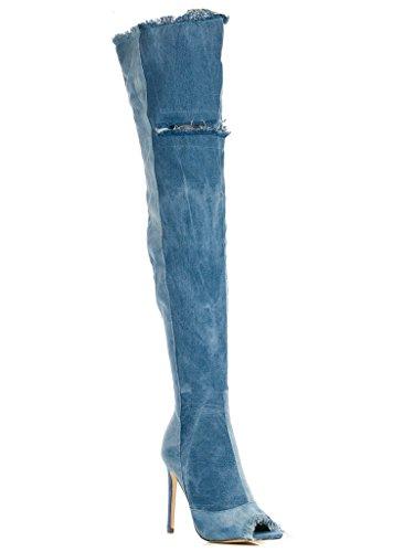 Liliana Barbara-13 Thigh High Over Knee Denim Distress Open Toe Stiletto Heel Boot Wash Denim PvnZ53iGNj