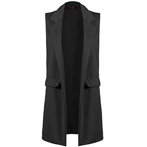 Grande Gilet Fille Long Femmes Blazer Smart Sans Manche Veste Taille Noir Cascade zqdY6wd