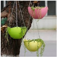 Amazon price history for 3 Pcs Plain Color Round Plastic Hanging Planter Flower Pot with Metal Chain for Home and Garden Indoor Plant (Multicolor)