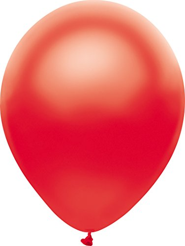 (PartyMate 72097 Made in the USA Metallic 12-Inch Latex Balloons, 10-Count, Satin Red)