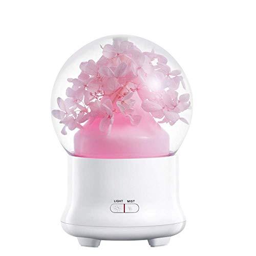 永遠の花アロマディフューザーエッセンシャルオイル空気加湿器でカラフルなledライト用ホーム超音波クールミスト空気清浄機、3