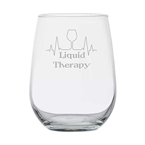 Stemless Wine Glass Gift | Liquid Therapy | Nurse Doctor Med School Graduation | Funny Birthday Gift | Therapist Psychologist | Thank You Appreciation Gift | Medical School | EKG Reading