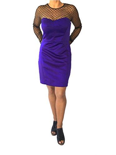 MILLY Swiss Dot Violet Satin Dress (8, Violet)