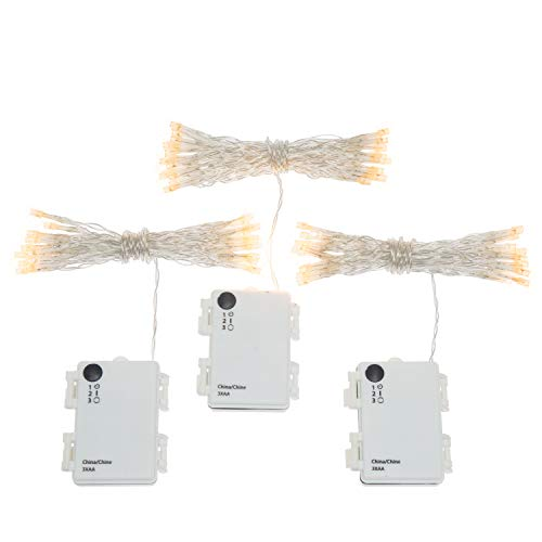 Set of 3 Warm White Battery String Lights 11 ft. 30 Vivid LEDs - Batteries Included