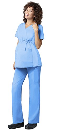 WonderWink Women's WonderWORK Maternity Top 145 & Maternity Pant 545 Scrub Set (Ceil Blue - Medium)