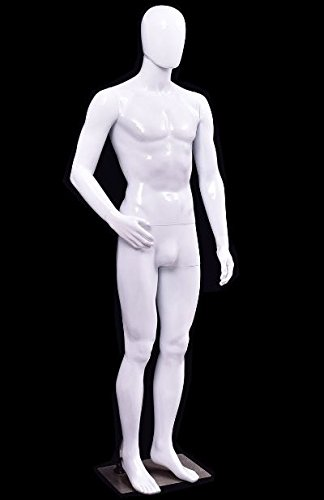 K&A Company White Plastic Male Display Mannequin New 16.9'' x 11.8'' Aluminum Stent Plastic Body by K&A Company