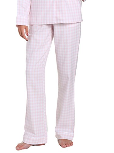 - Women's Premium Flannel Lounge Pant - Gingham Pink-White - Medium