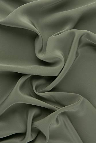 Olive Green Silk Crepe de Chine Fabric
