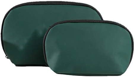 旅行化粧バッグ 2個セット旅行トイレタリー化粧バッグPuレザー防水屋外ポータブル化粧品美容バッグ多機能浴室シャワーバッグ アクセサリー用コスメバッグ (色 : 緑, Size : Free size)