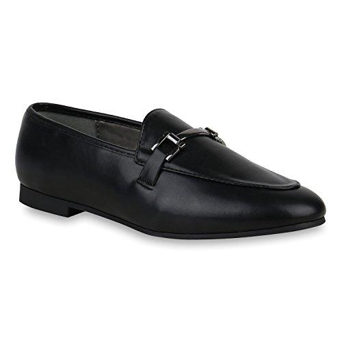 Stiefelparadies Damen Slippers Metallic Loafers Ketten Slip Ons Freizeit Schuhe Flandell Schwarz