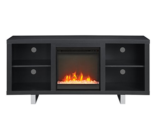 Cheap Modern Entertainment Centre with Simple Plug-in Crystal Electric Fireplace for TVs up to 60